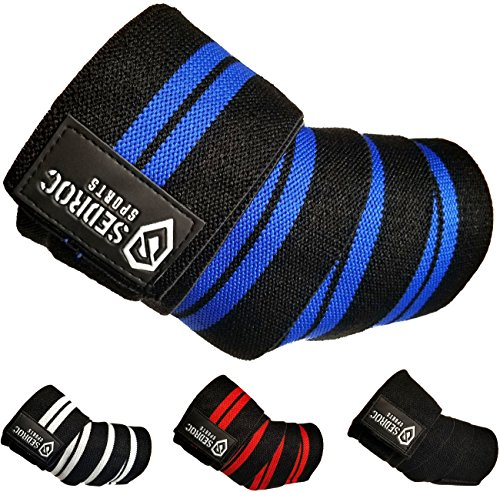 Best Sedroc Sports Weight Lifting Elbow Wraps Powerlifting Support Sleeves Straps - Pair
