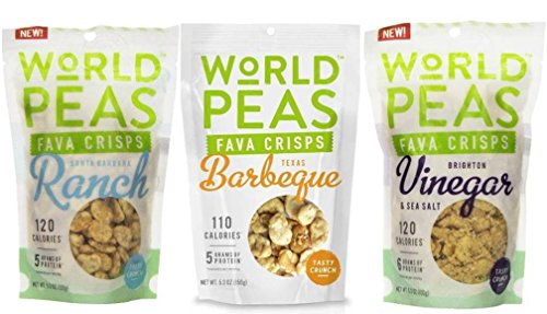 World Peas Vegan Gluten Free Fava Crisps Snack 3 Flavor Variety Bundle: (1) Santa Barbara Ranch Fava Crisps, (1) Texas Barbeque Fava Crisps, and (1) Brighton Vinegar Fava Crisps, 5.3 Oz. Ea.