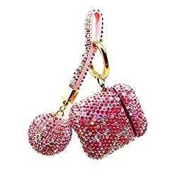 Pink Rhinestone AirPods Case with Keyring