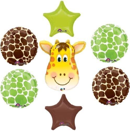 loonballoon Giraffeジャングル動物園サファリグリーンブラウンStarベビーシャワーパーティーマイラーバルーンセット   B01FTXOCQA