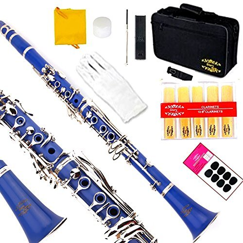 Glory Blue/Silver keys B Flat Clarinet with Second Barrel, 11reeds,8 Pads cushions,case,carekit,CLICK to see more Colors by GLORY
