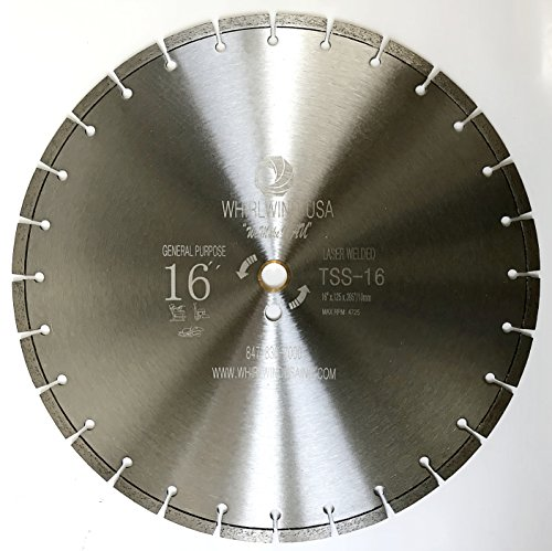 """Whirlwind USA TSS 16 inch Laser Welded Dry or Wet General Purpose Standard Power Saw Segmented Diamond Blades (Factory Direct Sale) (16"""")"""