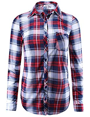 Ladies' Code Women's Checkered Plaid Shirt with Roll Up Sleeves in Various Styles