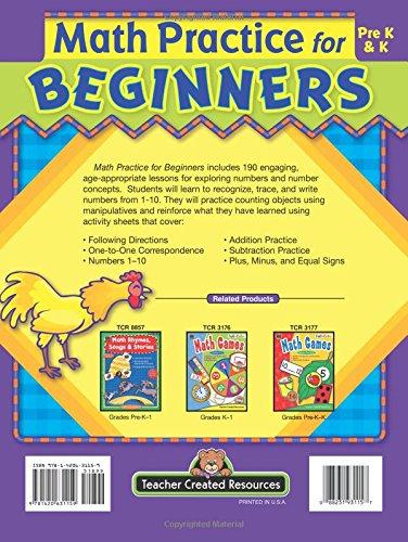 Amazon.com: Math Practice for Beginners, PreK & K (9781420631159 ...