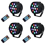 Stage Lights,SAHAUHY Par Lights 12 Leds Stage Lighting with Remote Control Sound Activated(Four Stage Lights)
