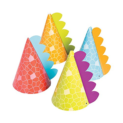 Little Dino Party Hats, 8 Count -