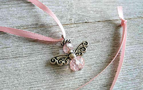 Tiny Pink Angel Car Charm Breast Cancer Awareness Rear-view Mirror Car Charm Pink Guardian Angel Charm Ornament Baby Girl Party Favors Valentine's Day for Her
