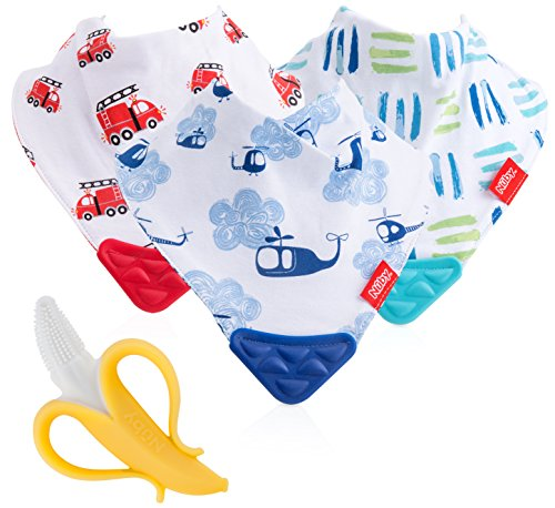 Nuby Reversible 3 Piece Teething Bib with Bonus Teething Toothbrush (Initial Bib Baby)