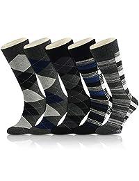 OKISS Men's Cotton Dress Thermal Argyle Socks Packs Patterned Business Casual Crew Socks