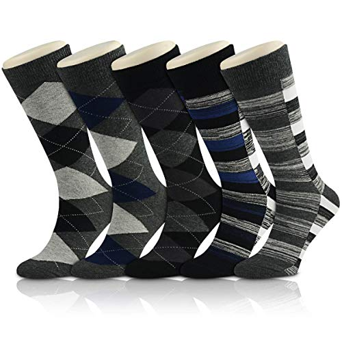 Men's Cotton Dress Socks Okiss Colorful Patterned Crew Socks Stripe Solid Argyle - Pack of 3/5 (5-pack)