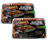 Disposable Grill by EZ Grill, 2 Pack Large Size - Disposable Charcoal BBQ Grill, Ideal for Camping and Tailgate Parties - Portable, Easy To Light, Convenient - Grill Anytime, Anywhere, Lasts 1.5 Hours