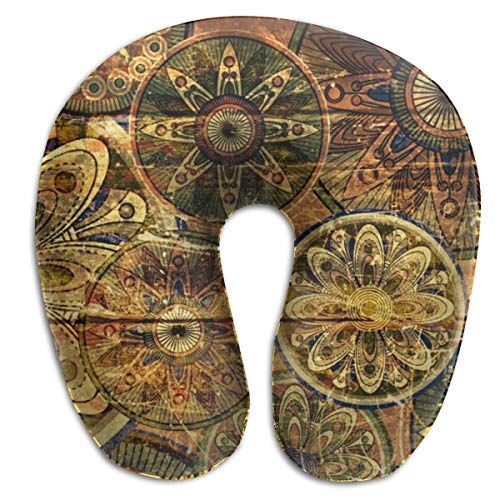 Lesi Yes U Shaped Neck Pillow Memory Foam Soft Flowers Texture Indoor Outdoor Travel Airplane Car Office School