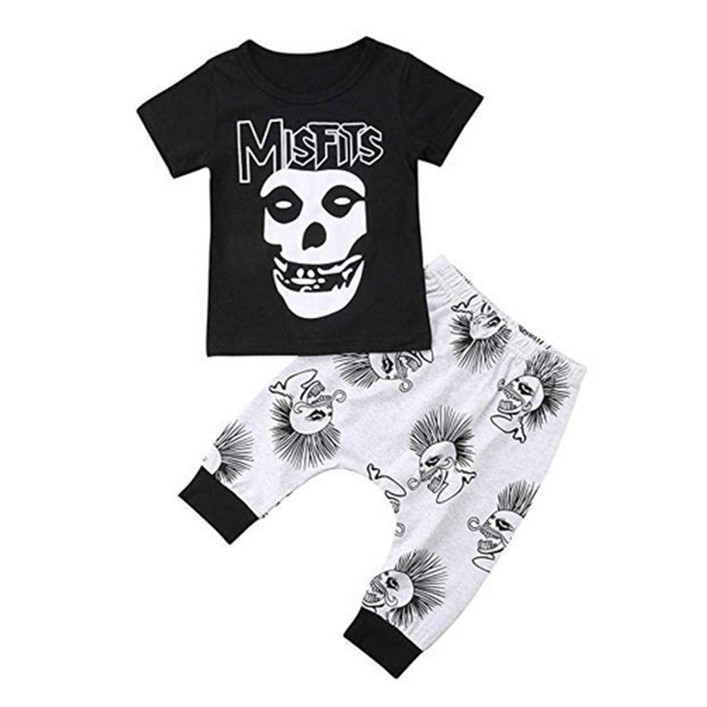 TOBABYFAT Toddler Baby Boy Halloween Costume Short Sleeve T-Shirt Top+Long Pant