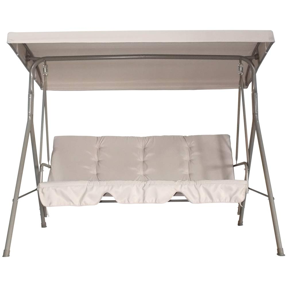 Homebeyond 3 Seater Outdoor Patio Swing | Rust and Fade Resistant Steel Frame with Adjustable Tilt Canopy | Perfect for Garden Backyard or Poolside Seating - SW-3T by Homebeyond
