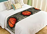 PicaqiuXzzz Custom Sport Bed Runner, Funny Basketball in Brick Wall Bed Runners And Scarves Bed Decoration 20x95 inch