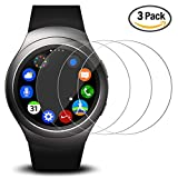 Screen Protector for Samsung Gear S2 Smart Watch, AFUNTA 3 Pack Tempered Glass Film Anti-Scratch High Definition Shield