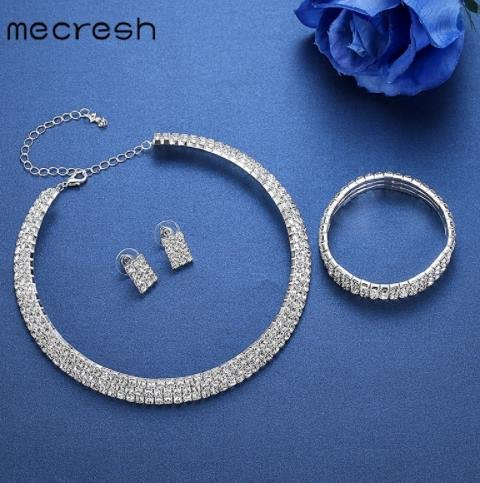 Mecresh Classic Circle Rhinestone African Jewelry Set 2017 Crystal Necklace Sets for Bride Bridesmaid Wedding Jewelry 3TL001