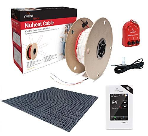- NuHeat N1C012-S-KIT 12 sq ft Signature Comfort Floor Heat Kit with Signature Thermostat, Heat Membrane, Heat Cable, MatSense Pro fault indicator...