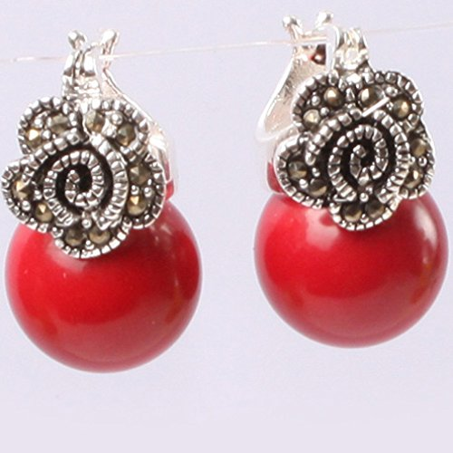 12mm round Manmade red coral beads tibetan silver marcasite base dangle stud hoop flower earrings jewelry