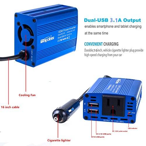 Bapdas 150W Car Power Inverter with 1 DC 12V to 110V AC Outlet Converter and 2 USB Ports Auto Charger Adapter for Laptops and Smartphones-Blue