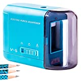 MAGNO SHARPENER New Presentation - Best Electric Pencil Sharpener Good for School Kids - Comes in Pink, Blue, White, Black and Green. Quiet for Classroom - Good for Colored Pencils -Works with AC Adapter and is Battery Powered, too - AC ADAPTER INCLUDED-