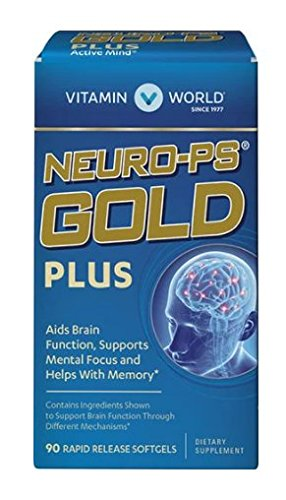 Vitamin World Neuro-PS Gold Plus Aids Brain Function, Supports Mental Focus and Helps With Memory 90 rapid release softgels