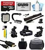 Bundle for GoPro Hero4 Hero3+ Hero3 Hero2 Camera with 16GB Card - LED Light - Handgrip - Selfie Pole - Handlebar Mount - Helmet Strap - Car Mount - Premium Case - HDMI Cable - Floating Handle - Cleaning Kit