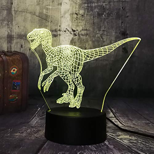 New Jurassic World Dinosaur Velociraptor Clever Blue 3D LED Night Light Table Lamp Holiday 7 Colors Boy Kid Christmas Party Gift(Velociraptor Blue)