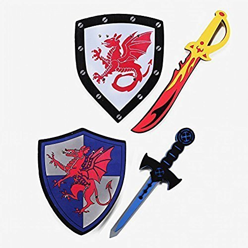 Foam Swords and Shields (Fire Vs Ice, Houses of the Dragon) Pretend Playset For Kids, 2 Pack, Red and Blue Color, Warrior Ninja