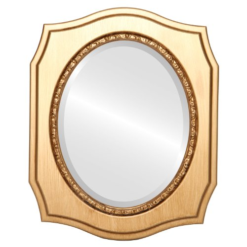 Oval Beveled Wall Mirror for Home Decor - San Francisco Style - Gold Paint - 20x24 outside dimensions - Francisco Wood Mirror