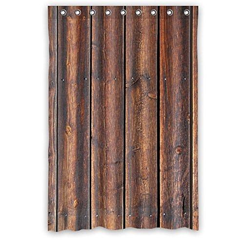 Custom Ative Rustic Old Barn Wood Art Polyester Fabric Window Curtain