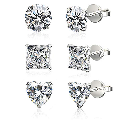 Set of 3 Pairs .925 Sterling Silver Cubic Zirconia Stud Earrings in Round, Princess, Heart Shapes, 5mm