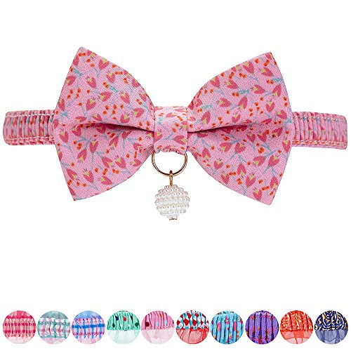 Blueberry Pet 18 Designs Pink Tulip Floral Breakaway Bowtie Cat Collar Choker Necklace with Handmade Bow Tie and Pearl Charm, Safety Elastic Stretch Collar for Cats, Neck 8.5