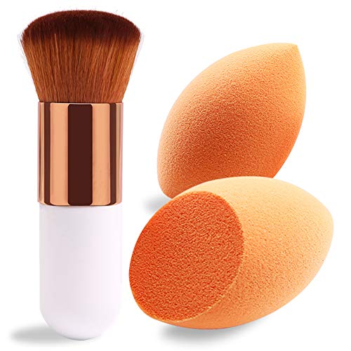 BAIMEI Makeup Sponges with Kabuki Foundation Brush, Latex-Free, Dry or Wet Dual Use, Professional Blender Beauty Sponge for Powder, Cream and Liquid Foundation Application (2 Sponges + 1 - Brush Sponge Foundation