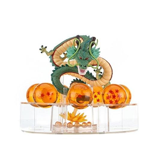 HPD Shenron and Dragon Ball Set: 1 pc Plastic Figure Shenron+7 pcs Crystal Balls 1.7 Inch 3D Stars+1 pc Acrylic Shelf, Augury Balls,Charming Amber Color, Flashing Mysterious Aura of Jesus