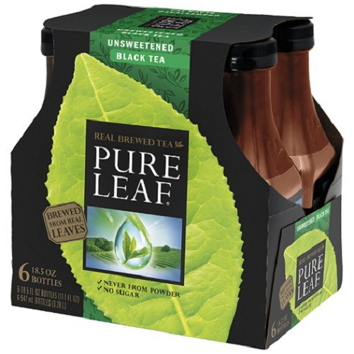 Pure Leaf Iced Tea, Unsweetened, Real Brewed Tea, 0 Calories, 18.5 Ounce Bottles (Pack of 6)