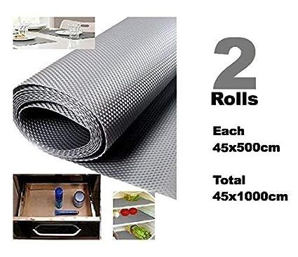 Home Buy Multipurpose Textured Strong Anti-Slip Eva PVC Mat Liner, 45x1000 Cm, Grey -Set of 2