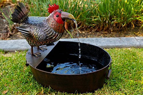 (Alpine Corporation 072266 Alpine Metal Rooster On A Tin Fountain, 20 Inch)