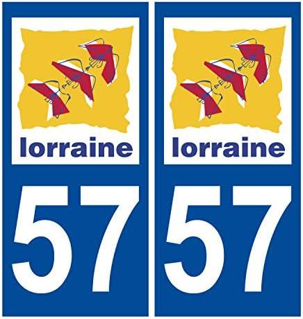 Supstick 2 Stickers Autocollants Plaques Immatriculation Auto Dept 54 Lorraine Bleu Fonc/é Angles Arrondis