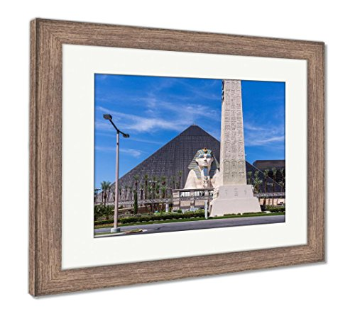 Ashley Framed Prints View of Luxor Las Vegas Hotel and Casino Las Vegas, Wall Art Home Decoration, Color, 26x30 (Frame Size), Rustic Barn Wood Frame, AG6428494