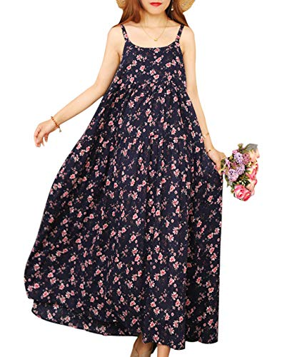 YESNO Women Casual Loose Bohemian Floral Print Empire Waist Spaghetti Strap Long Maxi Summer Beach Swing Dress XS-5X E75-CR15L