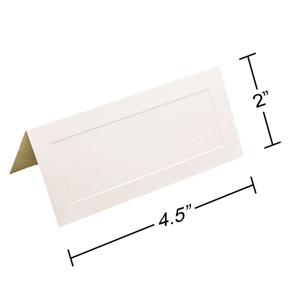 JAM PAPER Table Setting Foldover Place Cards - 2 x 4 1/2 - Off White with Embossed Border - 100 Tent Cards/pack by JAM Paper (Image #3)