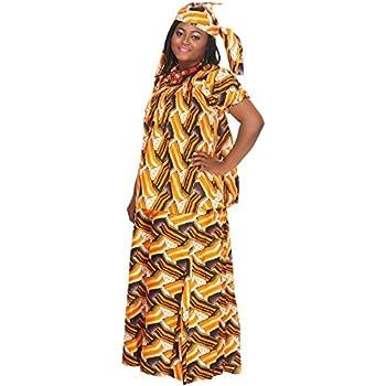 e81dd51423d96 African Planet Women s 3 Piece Suit Cuffed Puff Short Sleeves Skirt Headwrap