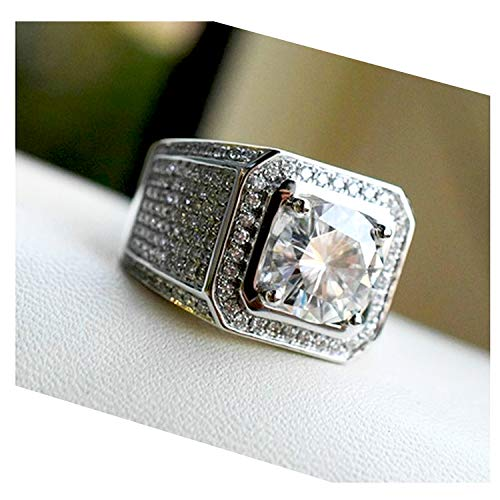 Hollywood Jewelry Iced Out Men's Ring Hip Hop White Cubic Zirconia (CZ) Stones, Platinum Plated. Holiday Christmas Collection (Size 10)