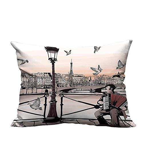 (YouXianHome Zippered Pillow Covers Accordionist Playing Paris Street Urban European Famous Town City Panorama Graphic Scene P Decorative Couch(Double-Sided Printing) 19.5x60 inch)