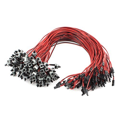 DealMux Motherboard Power Momentary Push Button Switch Cable Lead 45cm 100 Pcs by DealMux