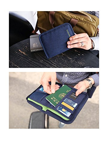 Angoo Waterproof Nylon Travel Wallet & Bag Document Wallet Strap Passport Credit ID Card Cash Travel Wallet Purse Holder Case Document Organizer ( Navy Blue)