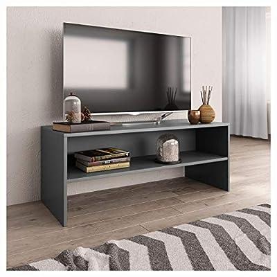 "PROGLEAM Entertainment Center & TV Stand, TV Cabinet Gray 39.4""x15.7""x15.7"" Chipboard"