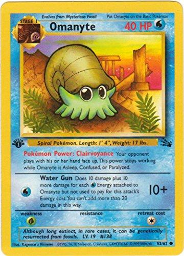 Base Set Single - Pokemon - Omanyte (52) - Fossil - 1st Edition