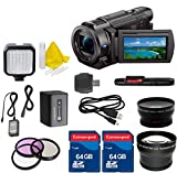 Sony 4K HD Video Recording FDRAX33 Handycam Camcorder + 2PC 64GB Extremespeed Memory Cards + Auxiliary Wideangle + Auxiliary Telephoto + LED Light + Cleaning Kit
